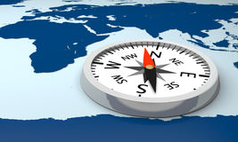 Compass on world map Stock Photos