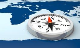 Compass on world map Stock Photos