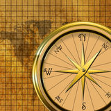 Compass on World Map Stock Photography