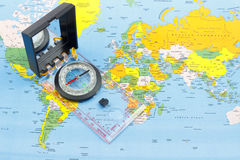 Compass and world map Royalty Free Stock Photo