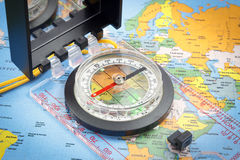 Compass and world map Stock Photography