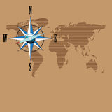 Compass and world map Royalty Free Stock Photos