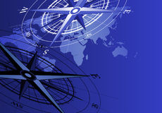 Compass and World Map Stock Images