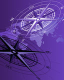 Compass and World Map. Abstract background with compass icons and world map stock illustration