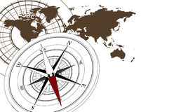Compass and World Map. Abstract background with compass icon and world map stock illustration