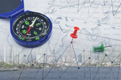 Compass on world map and city, success global concept, Elements Stock Image