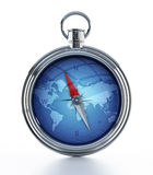 Compass. With world map isolated on white Royalty Free Stock Photo