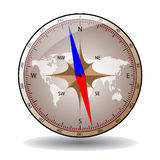 Compass with world map Royalty Free Stock Images