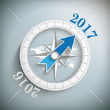 Compass 2017. Compass with year 2017 on the gray background Royalty Free Stock Photography