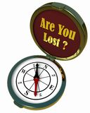 Compass - Are You Lost?. Computer generated image of a bronze compass. White background. It has the words 'Are You Lost' on the inside lid royalty free illustration