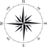 Compass1 (Brujula1). Compass Design, (also know as wind rose in some places Royalty Free Illustration