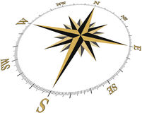 Compass1c3D (Brujula1c_3D). Black And Gold Compass design, in 3D perspective Vector Illustration