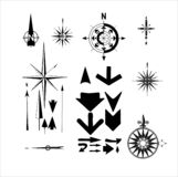 Compasses and arrows stock illustration