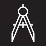 Compasses, divider line icon, white outline sign, vector illustration Royalty Free Stock Photo