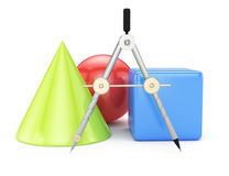 Compasses and geometric shapes Stock Image