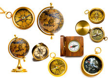 Compasses and globes Royalty Free Stock Photos
