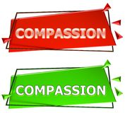 Compassion sign. Compassion modern 3d sign isolated on white background,color red and green royalty free illustration