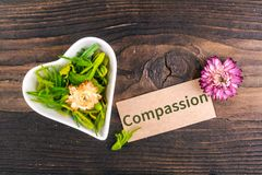 Compassion word on card. With dried flower and heart shape bowl on wood royalty free stock photos