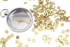 Compasso à procura do ouro Fotografia de Stock Royalty Free