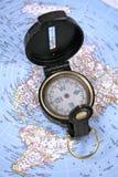 Compasso & mapa Imagens de Stock