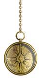 Compasso antigo de bronze na corrente isolada ilustração stock