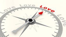 Compasso com a seta que aponta ao amor da palavra Fotografia de Stock Royalty Free