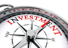 Compasso conceptual do investimento Foto de Stock Royalty Free