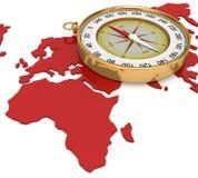 compasso 3d no mapa Fotografia de Stock Royalty Free
