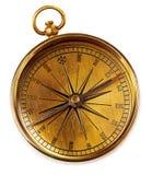 Compasso de bronze do vintage velho isolado em um fundo branco foto de stock