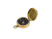 Compasso de bronze no branco Foto de Stock