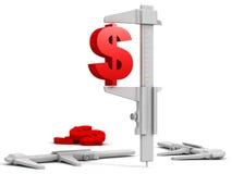 compasso de calibre da extremidade do dólar 3d Imagens de Stock Royalty Free