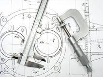 Compasso de calibre e micrômetro em desenhos técnicos Imagens de Stock Royalty Free