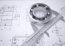 Compasso de calibre e rolamento no desenho Fotografia de Stock