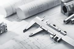 Compasso de calibre no modelo Fotografia de Stock Royalty Free