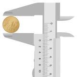 Compasso del primo piano e centesimo dell'euro 10 Fotografia Stock Libera da Diritti