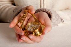 Compasso dourado Fotografia de Stock