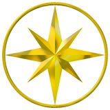 Compasso dourado Foto de Stock Royalty Free