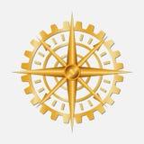 Compasso dourado da engrenagem ilustração royalty free