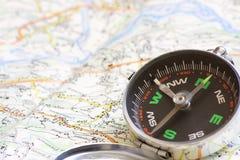 Compasso e mapa Foto de Stock Royalty Free