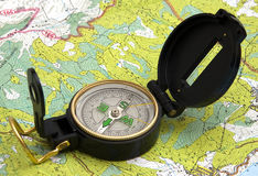 Compasso e mapa Foto de Stock