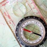 Compasso e mapa 1 Foto de Stock Royalty Free