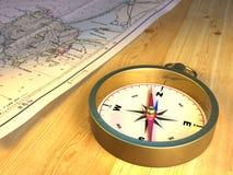 Compasso e mapa ilustração stock