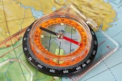 Compasso e mapa Fotos de Stock