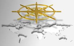 Compasso e mapa do mundo ilustração stock