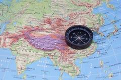 Compasso e mapa do sudeste de Ásia Fotografia de Stock Royalty Free