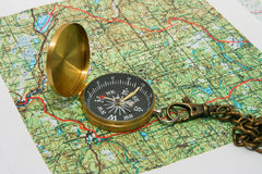 Compasso e mapas Foto de Stock Royalty Free