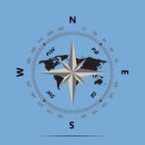 Compasso e terra em um estilo liso do fundo azul Fotografia de Stock Royalty Free