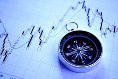 Compasso magnético em um gráfico Fotos de Stock Royalty Free