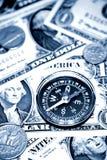 Compasso no dinheiro Foto de Stock Royalty Free