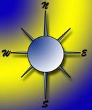 Compasso no fundo azul e amarelo Imagens de Stock Royalty Free